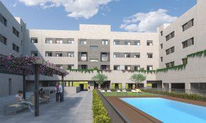 Exterior patio edificio escuelas cadrete